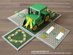 Überraschungsbox Explosionsbox Hochzeit Traktor Geldgeschenk