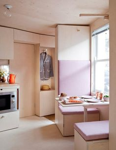 The seamless space - a tiny kitchen. The overall construction element is plywood.