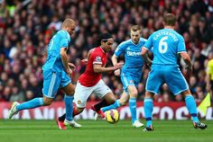 Radamel Falcao García of Manchester United breaks through the Sunderland defense during the Barclays Premier League match between Manchester United and Sunderland at Old Trafford on February 28, 2015 in Manchester, England.