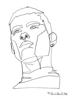 """Gaze 506″, continuous line drawing by Boris Schmitz"