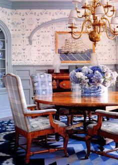 Blue and white dining - via The Foo Dog Ate My Homework
