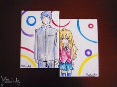 Anime canvas board / Toradora canvas (set of two) / Taiga & Ryuji canvas / original watercolor painting / fine art