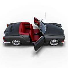 Karmann Ghia sports car convertible (1957–1974), combining the chassis + mechanicals of the Type 1 Volkswagen (Beetle), with styling by Luigi Segre of the Italian carrozzeria Ghia and hand-built bodywork by the German coach-builder Karmann