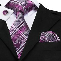 """3pc Silk Necktie Set Color: Purple and Gray 59"""" Length, 3.4"""" Width Matching cufflinks and pocket square"""