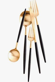 Utensils gorgeous gold and black DVF flatware Inside Design: Kissed with Copper The Rules of Kitchen Organization 8 Home Design, Modern Design, Interior Design, Kitchen Gadgets, Kitchen Tools, Kitchen Accessories, Kitchenware, Home Kitchens, Interior And Exterior
