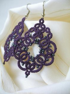 Purple jewelry Anniversary gift for girlfriend Bohemian jewelry Tatted lace jewelry Art deco earrings Beautiful victorian violet earrings Tatting Earrings, Tatting Jewelry, Lace Earrings, Soutache Earrings, Lace Jewelry, Art Deco Earrings, Art Deco Jewelry, Bohemian Jewelry, Crochet Earrings
