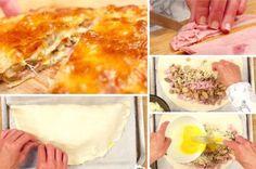 Chausson feuilleté jambon - fromage - champignons