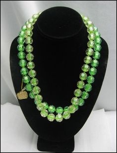 RICHELIEU Crystelle Poppit Double Strand GREEN and Clear POP BEAD NECKLACE Vintage
