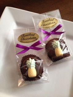 Dark Chocolate Hand Dipped Pineapple Oreo Cookies... Pineapples...Luau Candy Favors www.rosebudchocolates.com
