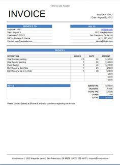 invoice services template