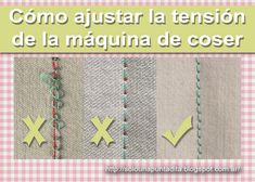 Just one stitch .: How to adjust the machine tension .- Sólo una puntadita…: Cómo ajustar la tensión de la máquina de coser Just one stitch …: How to adjust the tension of the sewing machine - Sewing Material, Janome, Sewing Techniques, Sewing Clothes, Sewing Hacks, Diy Fashion, Needlework, Projects To Try, Kids Rugs