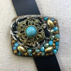 5 B's - Bronze, Blue & Black Belt Buckle by What The Buckle on Etsy.com