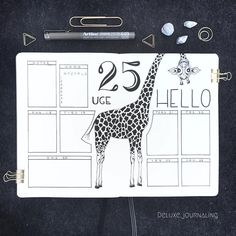 Bullet journal weekly layout, giraffe drawing. | @deluxe.journalling