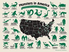 This Map Shows All The Mythical Monsters That Haunt The US  Read more: http://www.businessinsider.com/a-map-of-the-monsters-that-haunt-the-us-2015-1#ixzz3PzXixeJd