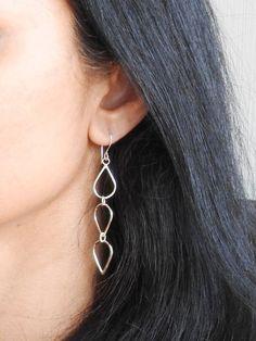 Items similar to Tear drop earrings Modern earrings Boho jewelry Dangle earrings Silver earrings Silver dangles Contemporary jewelry Gifts for her on Etsy Copper Earrings, Teardrop Earrings, Boho Earrings, Boho Jewelry, Unique Jewelry, Dangles, Gemstones, Trending Outfits, Handmade Gifts