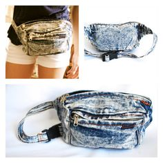 80s 1980s Fannypack Fanny Pack Pouch Acid Wash Washed Denim Plastic Buckle Organized Festival Wear Concert Change Purse Coin Storage Kitschy...