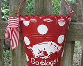 Personalized ARKANSAS RAZORBACK flower bucket /door hanger-assorted colors available