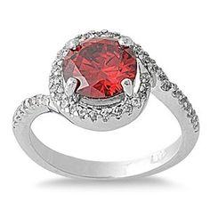 Round Garnet Halo Ring