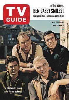 "TV Guide: March 1963 - The Cartwright Family of ""Bonanza"" - Michael Landon, Dan Blocker, Lorne Greene and Pernell Roberts. Ben Casey, Sean Leonard, Lorne Greene, Bonanza Tv Show, Michael Landon, Tv Westerns, Tv Land, Old Shows, Vintage Tv"