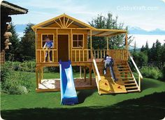 Site with awesome playhouses and playground combos