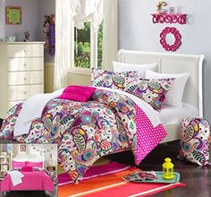 Perfect Home 10 Piece Princesa Paisley and Polka Dot printed REVERSIBLE Full Comforter Set Fuchsia with sheet set