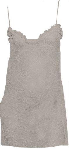 Saint Laurent White Lace Glittery Slip Dress