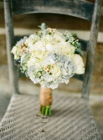 Favorite bridal bouquet! Maybe this for mine (plus some a couple anenomes and smaller versions of this for the bridesmaids that have a slightly more blue and less white?) Also I think I like a white/cream ribbon instead of the brown, but I'm not sure