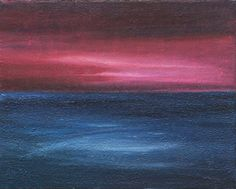 "Pink Sky at Night by Virginia Erdie. This original 8""x 10"" acrylic painting on canvas has a textured surface. This abstract ocean scene depicts a rich burgundy sunset on blue waters with a perfect mirror reflection from the twilight onto the ocean. Price: $105.00  On Artful Vision, www.artfulvision.com a portion of your purchase is donated to a participating non-profit of your choice. #art #paintings #gift #home #decor #Pink #sky #night"