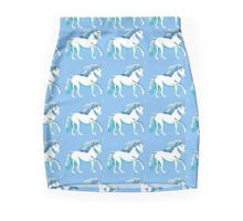 Blue and White Unicorns Pattern pencil skirt by Abigail Davidson at Redbubble