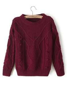 Rose-Carmine Plain Pleated Round Neck Synthetic Fiber Sweater