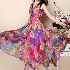 Women's Sexy/Casual Micro-elastic Sleeveless Midi Dress (Chiffon) 3951928 2016 – $31.96