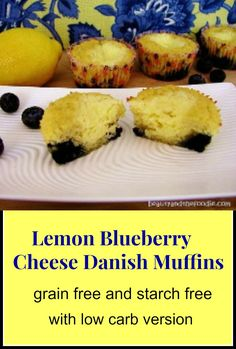 Lemon Blueberry Cheese Danish Muffins, primal with low carb version / beautyandthefoodie.com