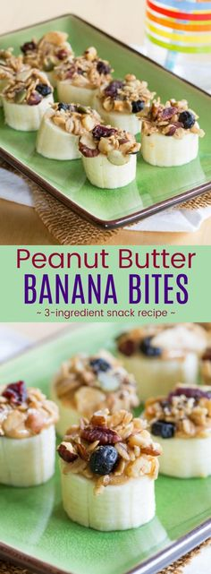 Peanut Butter Banana Bites - an easy three-ingredient snack recipe kids will love. Fast, healthy, super yummy, and easy to make gluten-free, vegan, and even nut-free depending on your choice of nut butter or sunflower seed butter and granola. #cupcakesandkalechips #snack #healthysnack #glutenfree #vegan #bananas #easyrecipe via @cupcakekalechip