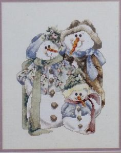Counted Cross Stitch Kit Snowman Family by Janlynn Stony Creek 8 x 10 New #Janlynn #CountedCrossStitch