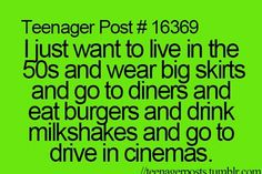 THANK THE LORD SOMEONE UNDERSTANDS MY LOVE OF THE 50's:the hair, clothes, and: MILKSHAKES