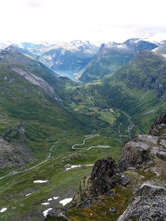 Geirangerfjord from the top of Dalsnibba.  From the mountain Dalsnibba (1500 m.), Norway.  By Ab Wisselink