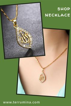 Islamic necklace with almond shape pendant features name of Allah surrounded by shining cubic zirconia crystals. Beautiful design and unique style add glamourous touch to this religious piece of jewellery. Makes perfect gift for your Muslim friend or family member. Available in gold, silver and rose gold colour. Materials used: copper alloy and crystals Size: 45 cm chain and  4*2 cm pendant Shipping: international delivery 4-6 weeks Style Fashion, Fashion Jewelry, Women Jewelry, Unique Jewelry, Silver Chains, Silver Chain Necklace, Beaded Jewelry, Jewelry Necklaces, Bracelets