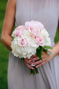 chic white and pink wedding bouquet; photo: SMS Photography