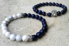 Howlite Bracelet Lapis Lazuli Bracelet 2 Sets Bracelet Mens Bracelet Boho Bracelet Stretch Bracelet Mala Bracelet Antique Sliver Bracelet by Krestbeads on Etsy