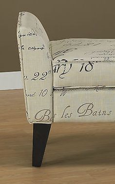 "NEW 54.5""L TAN W/BLACK AND BROWN FRENCH SCRIPT SETTEE OR BENCH~MAX WT 250 POUNDS"