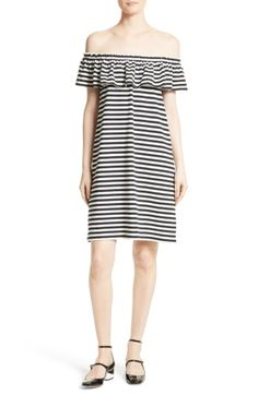 Free shipping and returns on kate spade new york stripe knit off the shoulder dress at Nordstrom.com. A frilly drape at the top adds fluttery movement to a comfortable cotton-knit shift with crisp striping and off-the-shoulder versatility.