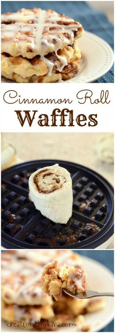 Loaded with swirls of cinnamon sugar and dripping with glaze, these made from scratch Cinnamon Roll Waffles only take 30 minutes to make. They are scrumptious!
