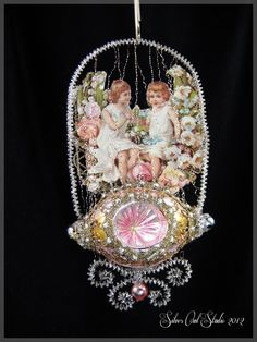 Victorian Christmas Ornament - Swinging in the Garden.
