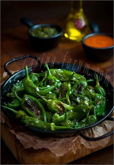 Fried Pimientos de Padron - look for these delicious peppers at farmer's markets.