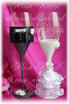 Wedding champagne flutes wedding glasses mr and mrs by AlisaKarol