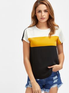 Shop Keyhole Back Dolphin Hem Cut And Sew Top online. SheIn offers Keyhole Back Dolphin Hem Cut And Sew Top & more to fit your fashionable needs. Trendy Tops For Women, T Shirts For Women, Clothes For Women, Make Your Own Clothes, Summer Blouses, Black Knit, Romwe, Fashion Outfits, Ootd Fashion