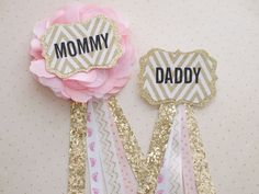 Mommy & Daddy Buttons Pink Blush and Gold for by CraftsGaLaura