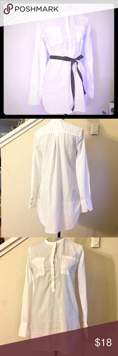 White Polo Dress Long-sleeves and pure white with plaid pattern. Black ribbon belt not included. All buttons and stitches intact. Merona Tops Tunics