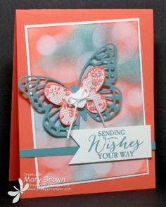 Mary's awesome card using the Bokeh technique plus Butterfly Basics, Butterflies Thinlits, Sweet Dreams button, & more - all from Stampin' Up! Papillon Butterfly, Butterfly Cards, Scrapbooking, Scrapbook Cards, Card Making Inspiration, Making Ideas, Stamping Up Cards, Card Tutorials, Tampons