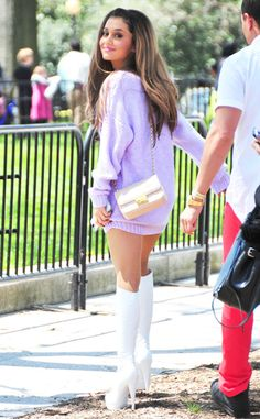 Ariana Grande breaks out her spring wardrobe with white boots and pastels!